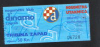 MATCH TICKET -   DINAMO ZAGREB   Vs  NOGOMETNA - 2000 - - Eintrittskarten