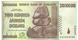 ZIMBABWE $200 MILLION BROWN ROCKS FRONT BUILDING BACK DATED 2008 VF READ DESCRIPTION CAREFULLY !!! - Zimbabwe