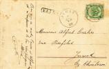 364/19 -  Carte Fantaisie TP Armoiries HASSELT 1908 - Griffe De Gare EELEN  De La Ligne Privée De Chemins De Fer - Poststempel