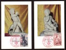Y/T N° 1048/49 Sur 2 Cartes-Maximum - Croix-Rouge - Statue Grecque Et Oeuvre De J. B. PIGALLE. - 1950-59