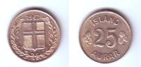 Iceland 25 Aurar 1967 - Islandia