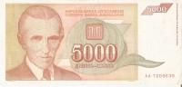 BILLETE DE YUGOSLAVIA DE 5000 DINARA DEL AÑO 1993   (BANKNOTE) - Yougoslavie
