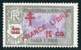 INDE ßurcharge «Croix De Lorraine Et FRANCE LIBRE»  16 Ca Sur 3R Maury  255  ** - India (1892-1954)