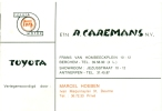 Visitekaartje - Berchem - Toyota Motor - Etn. R. Caremans N.V. - Visitenkarten