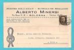 STORIA POSTALE CARTOLINA COMMERCIALE MATERIALI PER IMBALLAGGIO ALBERTO MINERBI BOLOGNA DEL 30-12-1937 PER ROMA - Storia Postale