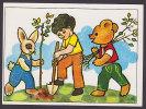 Albania PPC Piktor B. Zajmi, Tirane 1988 Boy, Bear And Rabbit Planting Trees - Albania
