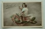 1er Avril 1 Jeune Fille Chevauchant Un Poisson - 1 De April (pescado De Abril)