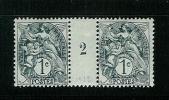 FRANCE TYPE  BLANC N° 107 * MILLESIME 2 DE 1922 TYPE I A - Millésime