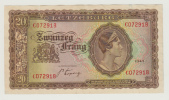 Luxembourg 20 Francs 1943 VF++ Crispy Banknote P 42 - Luxembourg