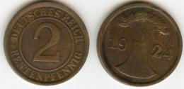 Allemagne Germany 2 Rentenpfennig 1924 A J 307 KM 31 - 2 Rentenpfennig & 2 Reichspfennig