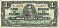 CANADA $1 DOLLAR KGVI HEAD FRONT WOMAN BACK DATED 2-1-1937 P58e SIGN. COYNE-TOWERS VF READ DESCRIPTION - Kanada