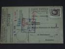 Carte Caisse De Retraite Farciennes Vers Bruxelles 1926 Lijfrentekas Houyoux (ref 42) - 1922-1927 Houyoux