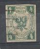LÜBECK 1859, Yvert N° 5 , 4 Shilling VERT; Obl , B/TB, Cote 700 Euros - Luebeck