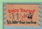 En BOIS 1955 ( Enjoy Yourself ) Wood Post Card Cover Platsburg USA -> Three Rivers Quebec Canada 2 Scans - Cartes Postales