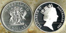 AUSTRALIA $10 STATE SERIES QUEENSLAND 1989 SILVER PROOF KM? CV$45A  READ DESCRIPTION CAREFULLY !!! - Monnaie Décimale (1966-...)
