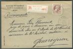 N°77 - 35 Centimes Grosse Barbe, Obl. Sc MONS S/L. Recommandée Du 11 Novembre 1908 Vers Quaregnon Via Mons (Station)/Val - 1905 Grosse Barbe