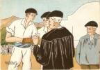 Au Pays Basque Avant La Partie De Pelote Basque Signé M.petit Didier 10,5X15 - Illustrators & Photographers