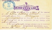 U.S. Postal Card   ANCHOR SHIPPING LINES  1887  N.Y. - Covers & Documents