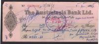 PAKISTAN Cheque The Australasia Bank Ltd. Napier Road Karachi 9-3-1964 - Bank & Insurance