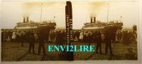 Ref3713 Plaque De Verre Vue Stéréo Animée. Départ De Paquebot Sphinx De Marseille - Plaques De Verre