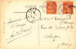 7586# Y&T N° 158 SEMEUSE PAIRE MILLESIME BLANC / CARTE POSTALE BAGNOLES ROC DU CHIEN Obl LA FERTE MACE ORNE 1924 SEES - Marcophilie (Lettres)