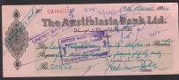 PAKISTAN Cheque The Australasia Bank Ltd. Karachi 19-3-1964 - Bank & Insurance