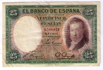 BILLETE DE 25 PESETAS DE 1931- VICENTE LOPEZ - USADO BONITO - LEVE ROTURA SUPERIOR - [ 2] 1931-1936 : Republiek