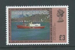Falkland Islands Dependencies 1980 QEII Scene Definitives 3 Pound Ship MNH - Falkland Islands