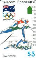 AUSTRALIA $5 BARCELONA SPAIN OLYMPIC 1992 SWIMMING SPORT AUS-050 READ DESCRIPTION !! !! - Australia