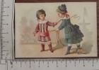 Chromo  Fin 19°S./enfant Fille Jeu Du Cheval  / Attache Rènes Autour La Taille Cravache Fouet - Autres