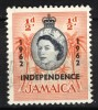 Jamaica 1962, Queen Elizabeth II - Palms, Overprint: Independence (o), Used - Jamaica (1962-...)