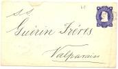 REF LVP9 - CHILI EP ENVELOPPE 5c VOYAGEE  SERENA / VALPARAISO AOUT 1893 - Chili