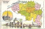 Cpa, Carte Géographique De Belgique,publicité Amidon De Riz Rémy,anvers,usine Rémy, Bruxelles - Cartes Géographiques