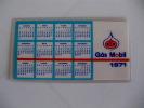 Mobil Portuguese Plastic Pocket Calendar 1971 - Calendarios