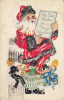 My Best Wishes For A Merry Christmas - Santa Claus With Children Dancing Around His Feet - Santa Claus
