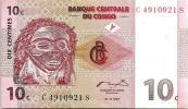CONGO 10 CENTIMES PINK ARTIFACT FRONT DANCERS BACK DATED 01-11-1997 UNC P82a  READ DESCRIPTION !! - Congo