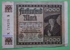 Geldschein Reich Banknote GERMANY 5000 Mark 1922  Papermoney. - 1918-1933: Weimarer Republik