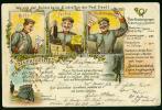 Soldatenbrief Litho Post Briefträger Soldat Militär Posthorn Pfeife Packet Posttarife Porto Deutsche Reichspost - War 1914-18