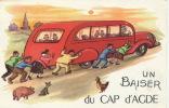 Un Baiser Du CAP D'AGDE - Jolie Carte Fantaisie Autobus Avec Cochon Chien Et Poule (1957) - Altri Comuni