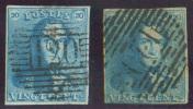 N°2 - Epaulettes 20  Centimes Bleues, B à TB Margée, Obl. P.120 TOURNAY  à 17 Barres (2 Types : Barres épaisses Et Fines - 1849 Epaulettes