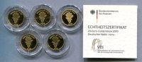 0801 - DEUTSCHLAND - 5 Stück 20 Euro Goldmünzen EICHE 2010, A-J Komplett - 5 Echtheitszertifikate - Deutschland
