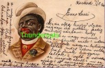 VINTAGE LITHO CARD BLACK AMERICANA NEGRO MAN 1900 ** CPA LITHO PRECURSEUR  HOMME NOIR NEGRE 1900 WEZEL & NAUMANN - Ethniques & Cultures