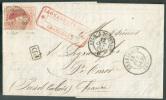 N°12 - Médaillon 40 Centimes Vermillon, 1 Voisin Et 3 Belles Marges, Touché En Haut à Droite, Obl. P.25 S/L. De CHARLERO - 1858-1862 Medallions (9/12)