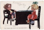 P CHILDREN BOY AND A GIRL SITTING ON CHAIRS NEUE MEISTER VERLAG Nr. 473 OLD POSTCARD 1921. - Children