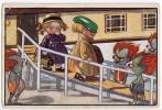 P CHILDREN BOY AND A GIRL MEETING SOME STRANGE PEOPLE NEUE MEISTER VERLAG Nr. 484 JAMMED CORNER OLD POSTCARD 1922. - Children