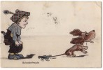 P CHILDREN A CRAB CATCHED A DOG WHILE A BOY WATCHING  NVSB Nr. 1113 JAMMED CORNER OLD POSTCARD - Children