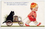 P CHILDREN GIRL DIRVING HER CAT  BAMFORTH  Nr. 571 OLD POSTCARD - Children