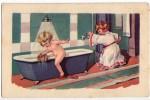 P CHILDREN LITTLE GIRLS HAVEING A BATH  AMAG Nr. 0,15  OLD POSTCARD - Children
