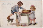 P CHILDREN ADAM AND EVA  HEL B. Nr. 504/1  OLD POSTCARD - Children