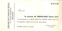 Wissel - Reçu - Oeuvre De L' Enfant Jésus - Petit Revue - 25 Sept. 1958 - Lettres De Change